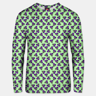 Flowers violets on a green background Unisex sweater thumbnail image