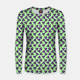 Flowers violets on a green background Women sweater thumbnail image
