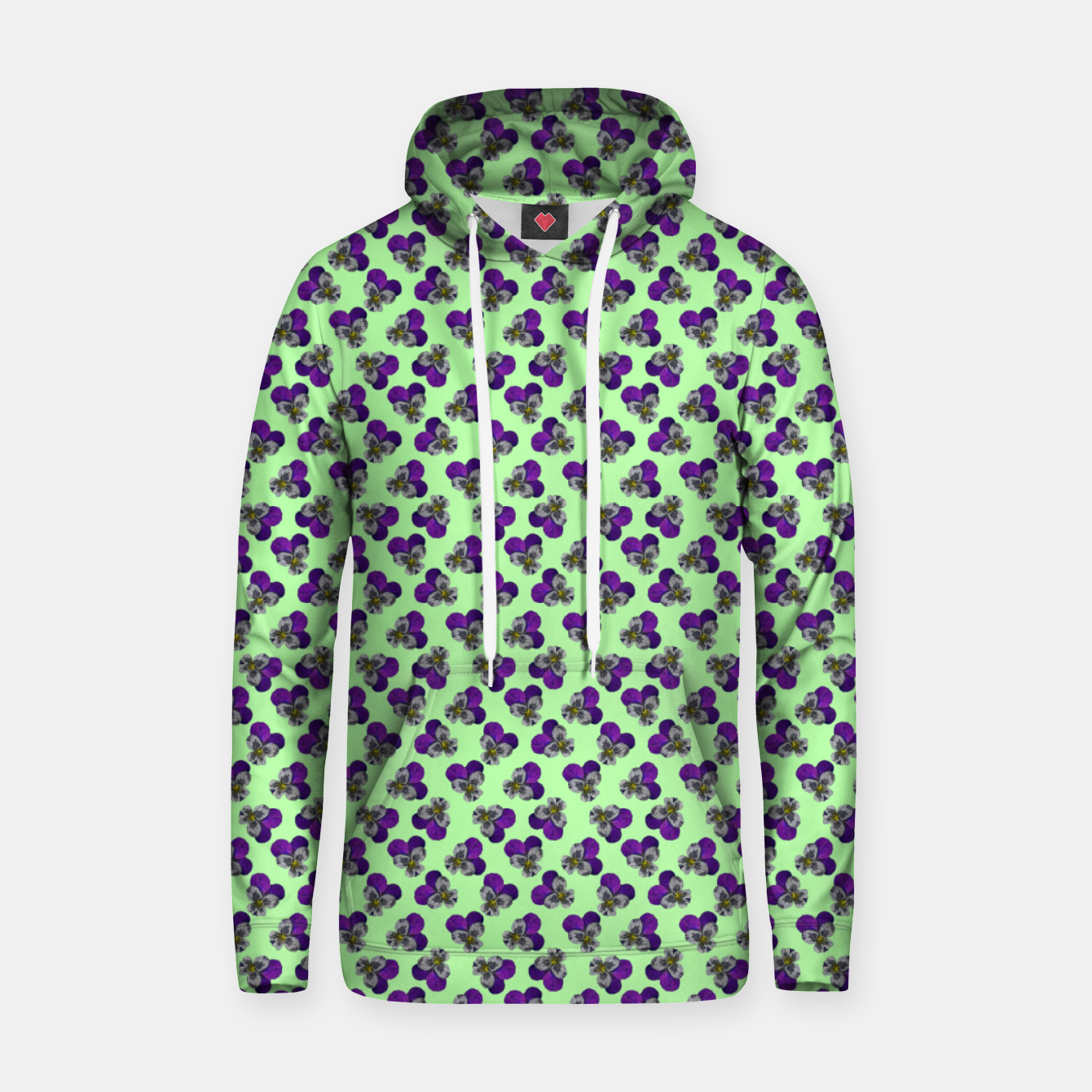 Image of Flowers violets on a green background Hoodie - Live Heroes
