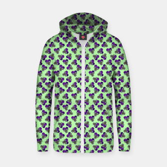 Flowers violets on a green background Zip up hoodie thumbnail image
