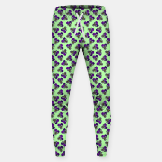 Flowers violets on a green background Sweatpants thumbnail image