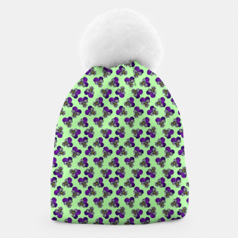 Flowers violets on a green background Beanie thumbnail image