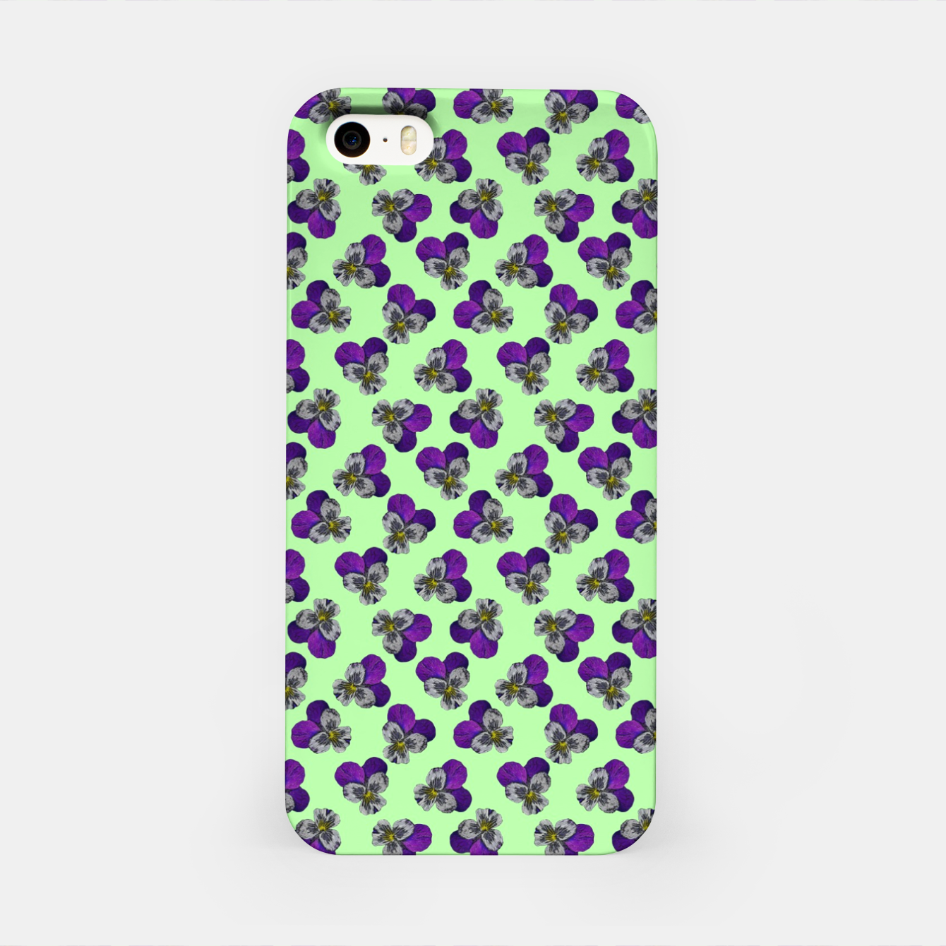 Image of Flowers violets on a green background iPhone Case - Live Heroes