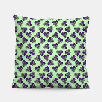 Flowers violets on a green background Pillow thumbnail image