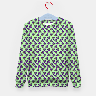 Flowers violets on a green background Kid's sweater thumbnail image