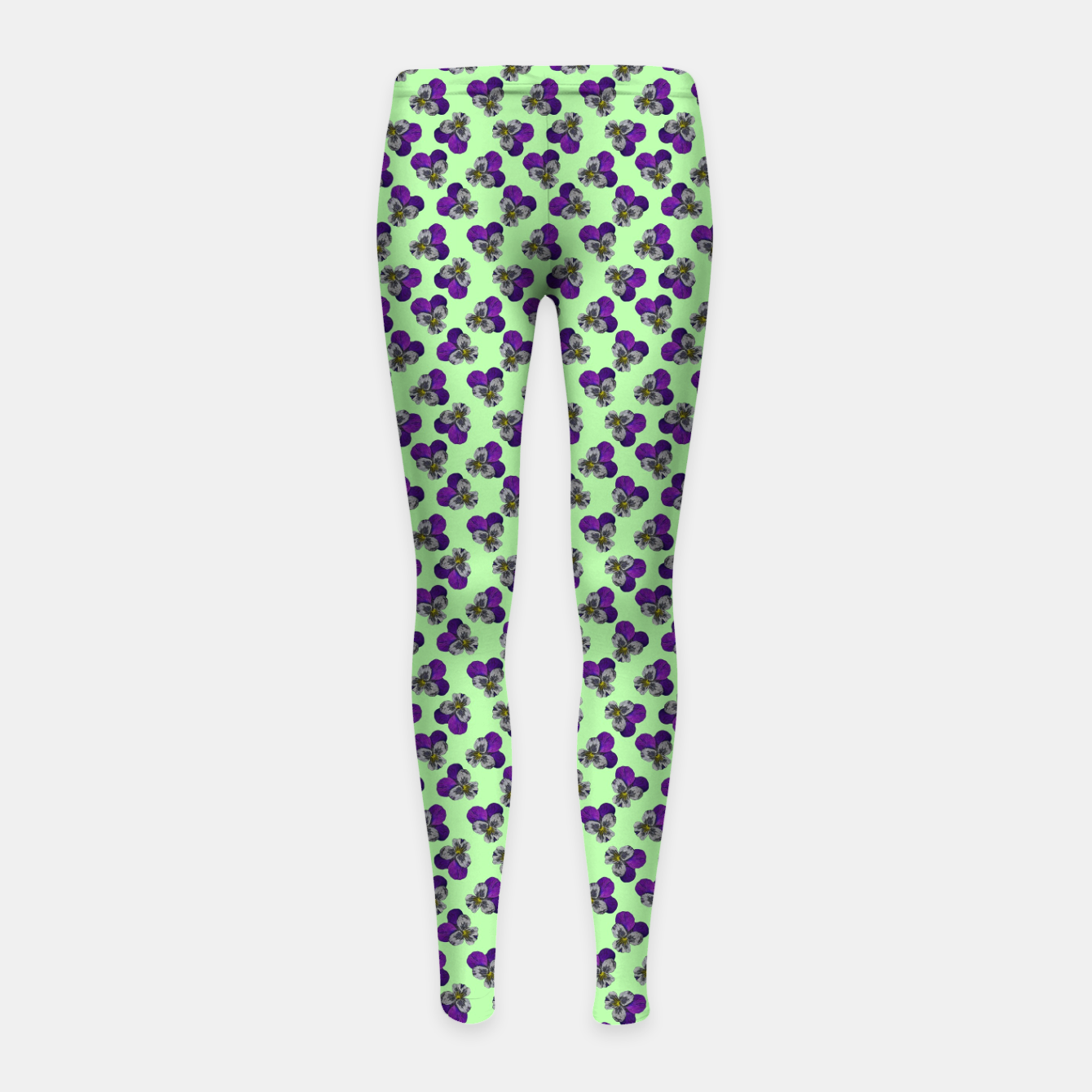 Image of Flowers violets on a green background Girl's leggings - Live Heroes