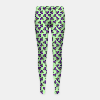 Flowers violets on a green background Girl's leggings thumbnail image