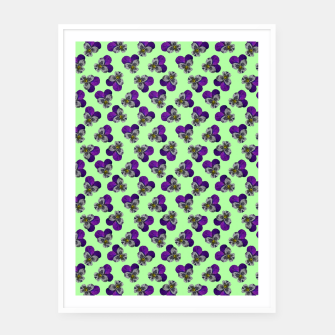 Flowers violets on a green background Framed poster thumbnail image