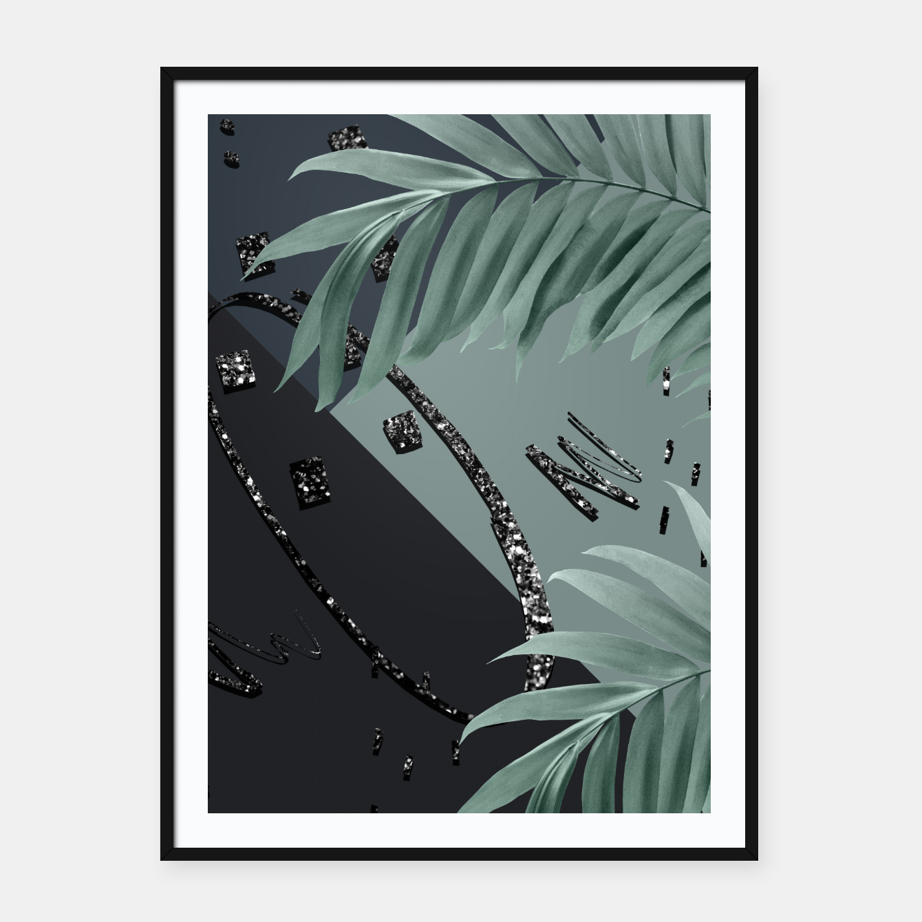 Zdjęcie Night Palms Cali Vibes Abstract Glitter Glam #1 #tropical #decor #art  Plakat mit rahmen - Live Heroes