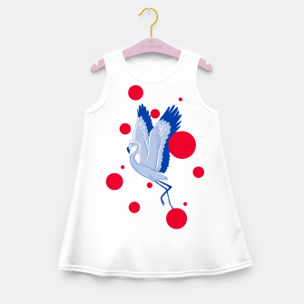 Miniatur blue flamingo Girl's summer dress, Live Heroes