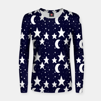 Starry Night Cartoon Print Pattern Women sweater obraz miniatury