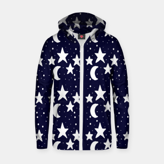 Starry Night Cartoon Print Pattern Zip up hoodie obraz miniatury