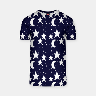Starry Night Cartoon Print Pattern T-shirt obraz miniatury