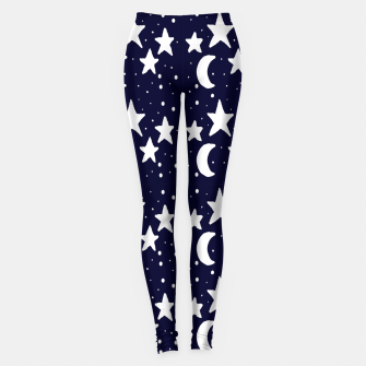 Miniaturka Starry Night Cartoon Print Pattern Leggings, Live Heroes