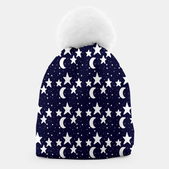 Starry Night Cartoon Print Pattern Beanie obraz miniatury