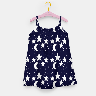 Starry Night Cartoon Print Pattern Girl's dress obraz miniatury