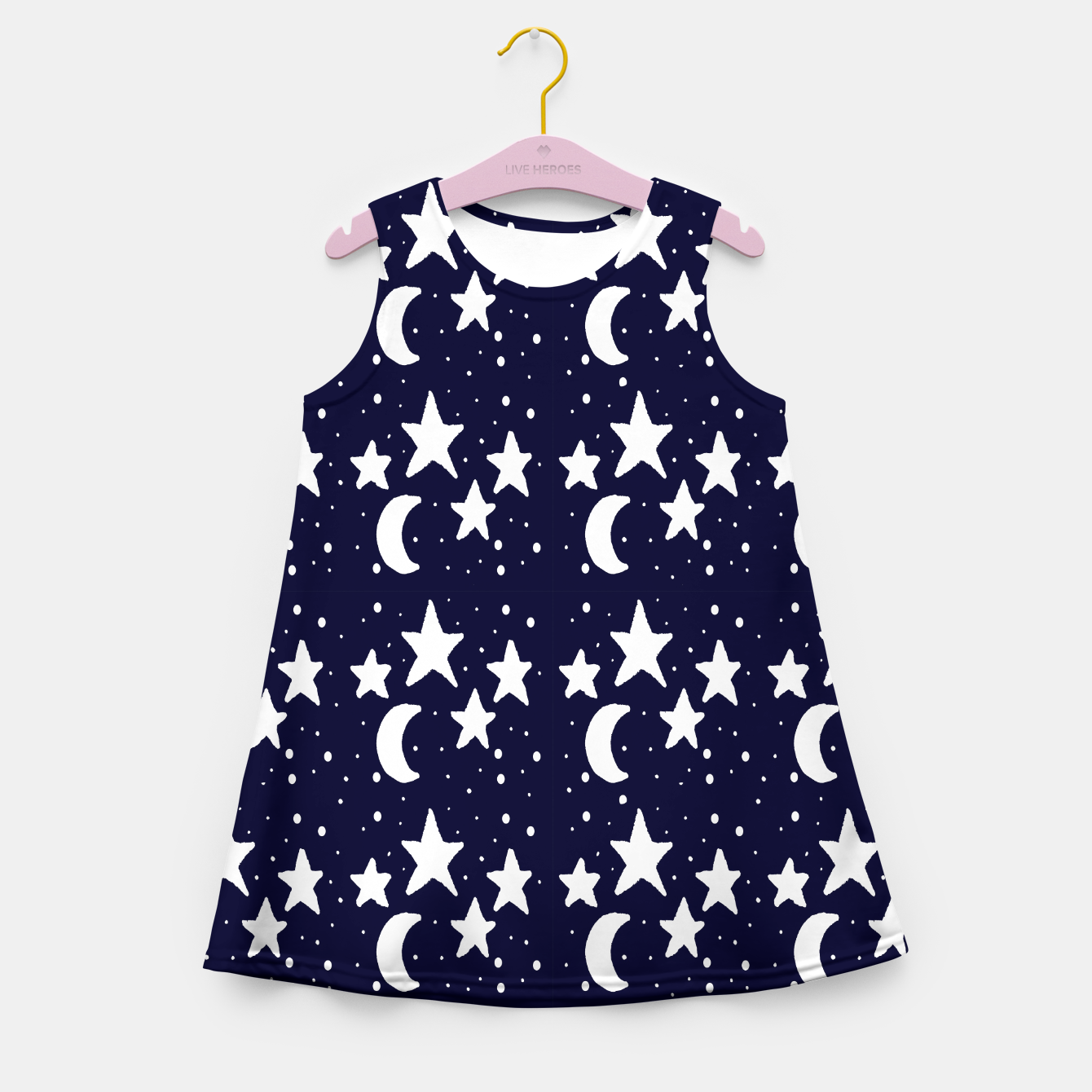 Zdjęcie Starry Night Cartoon Print Pattern Girl's summer dress - Live Heroes