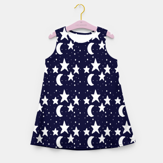 Starry Night Cartoon Print Pattern Girl's summer dress obraz miniatury