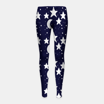 Starry Night Cartoon Print Pattern Girl's leggings obraz miniatury