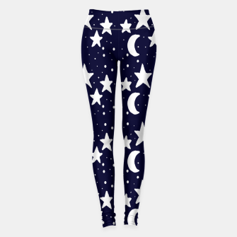 Starry Night Cartoon Print Pattern Leggings obraz miniatury