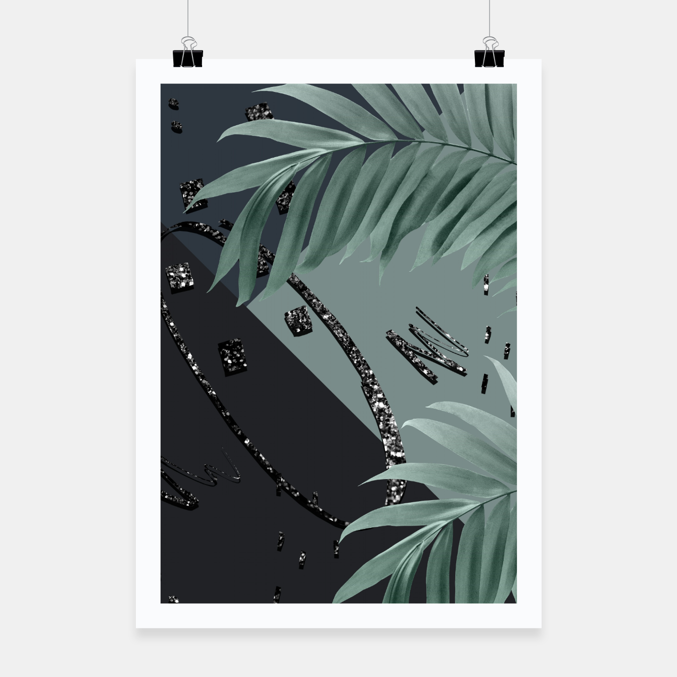 Zdjęcie Night Palms Cali Vibes Abstract Glitter Glam #1 #tropical #decor #art  Plakat - Live Heroes