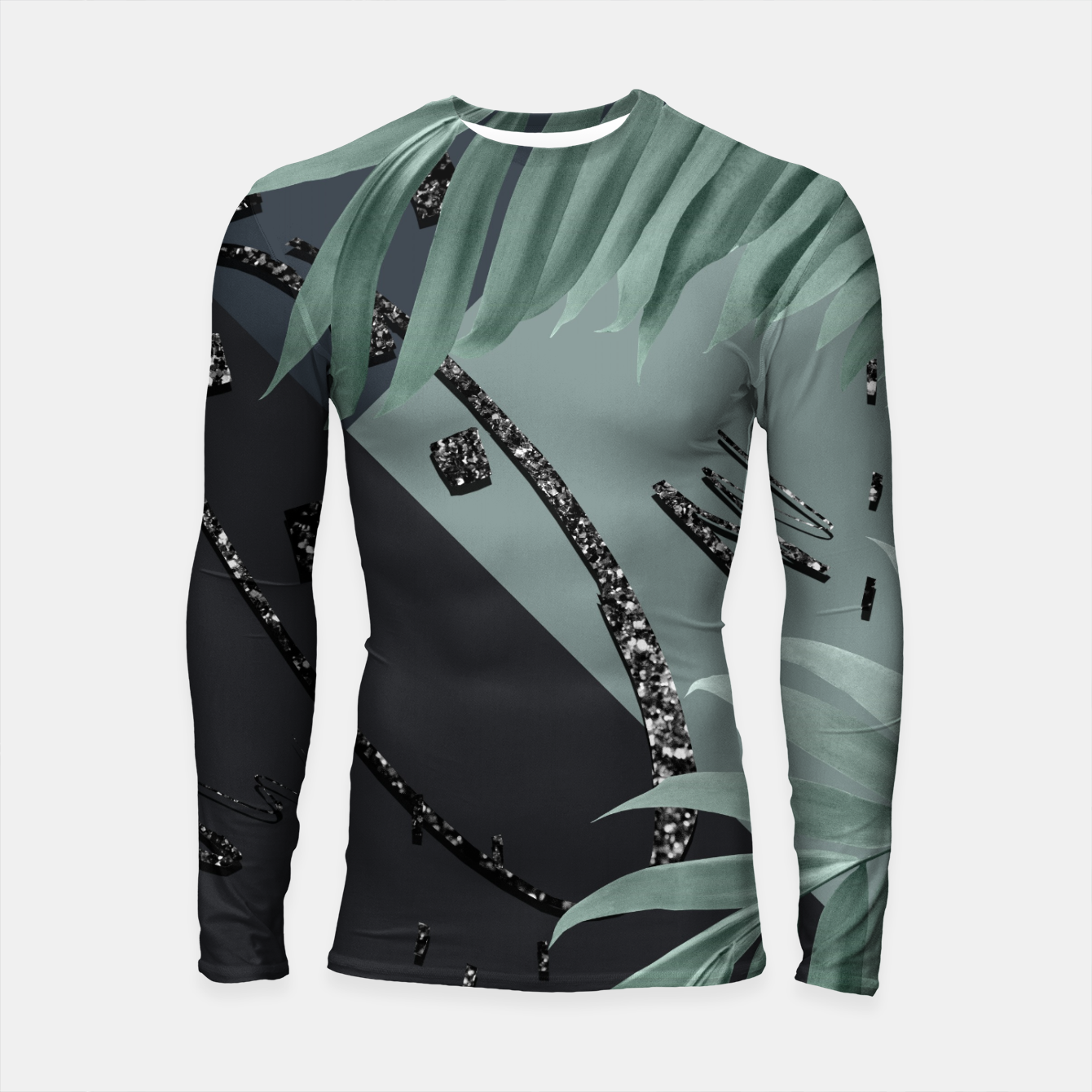 Zdjęcie Night Palms Cali Vibes Abstract Glitter Glam #1 #tropical #decor #art  Longsleeve rashguard - Live Heroes