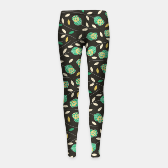 Miniature de image de Flowers | Yellow And Green Floral Pattern Girl's leggings, Live Heroes