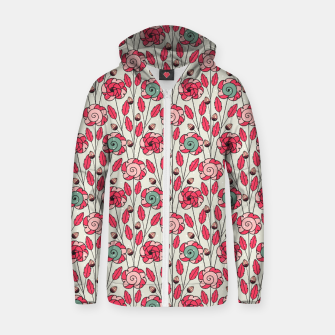 Miniature de image de Candy Fleur | Vibrant Pink And Green Floral Pattern Zip up hoodie, Live Heroes