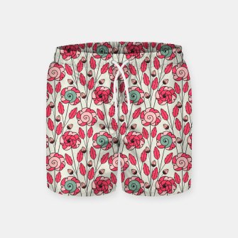 Thumbnail image of Candy Fleur | Vibrant Pink And Green Floral Pattern Swim Shorts, Live Heroes
