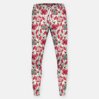 Thumbnail image of Candy Fleur | Vibrant Pink And Green Floral Pattern Sweatpants, Live Heroes