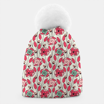 Thumbnail image of Candy Fleur | Vibrant Pink And Green Floral Pattern Beanie, Live Heroes