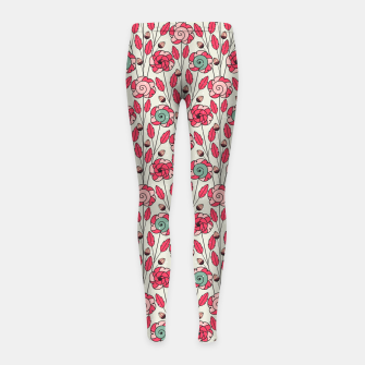 Miniature de image de Candy Fleur | Vibrant Pink And Green Floral Pattern Girl's leggings, Live Heroes