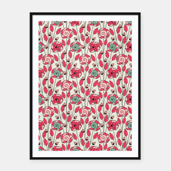 Miniature de image de Candy Fleur | Vibrant Pink And Green Floral Pattern Framed poster, Live Heroes