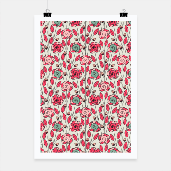 Miniature de image de Candy Fleur | Vibrant Pink And Green Floral Pattern Poster, Live Heroes