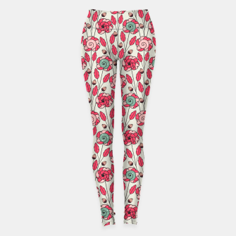 Thumbnail image of Candy Fleur | Vibrant Pink And Green Floral Pattern Leggings, Live Heroes