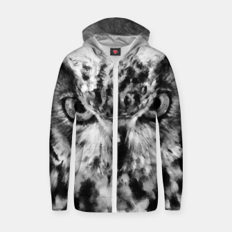 Thumbnail image of owl look digital painting orcbw Zip up hoodie, Live Heroes