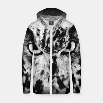 Thumbnail image of owl look digital painting reacbw Zip up hoodie, Live Heroes