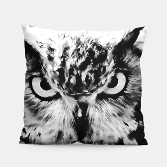Thumbnail image of owl look digital painting reacbw Pillow, Live Heroes