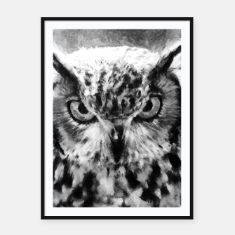 owl look digital painting orcbw Framed poster miniature