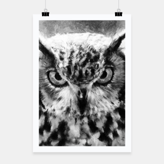 owl look digital painting orcbw Poster miniature