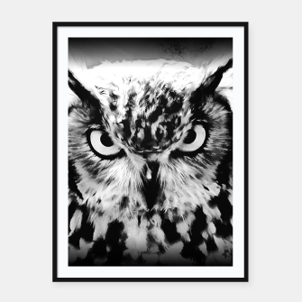 Thumbnail image of owl look digital painting reacbw Framed poster, Live Heroes
