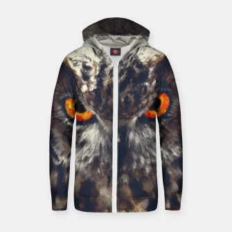 Thumbnail image of owl look digital painting orcfn Zip up hoodie, Live Heroes