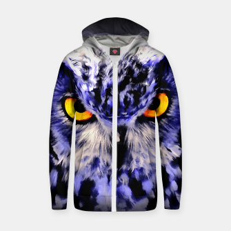 Thumbnail image of owl look digital painting reacdb Zip up hoodie, Live Heroes