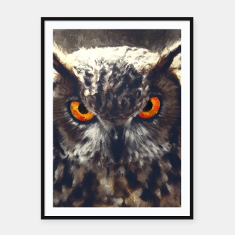 Thumbnail image of owl look digital painting orcfn Framed poster, Live Heroes