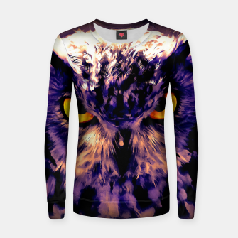 owl look digital painting reacls Women sweater thumbnail image