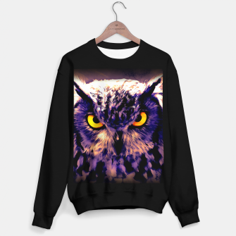 owl look digital painting reacls Sweater regular miniature