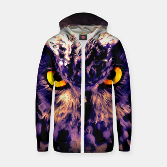 Thumbnail image of owl look digital painting reacls Zip up hoodie, Live Heroes