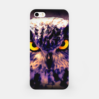 owl look digital painting reacls iPhone Case miniature