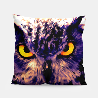 owl look digital painting reacls Pillow miniature
