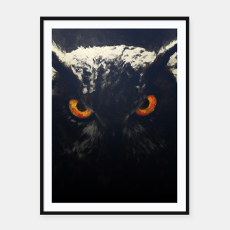owl look digital painting orcfnd Framed poster miniature